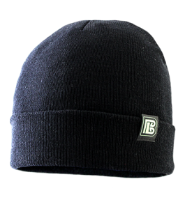 Black Acrylic Knit Logo Beanie