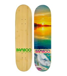 River Disaster Graphic Bamboo Skateboard